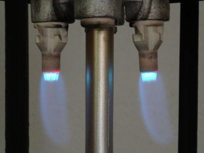 Blaue Flamme, gerade richtig zur Verwendung in Gaslampen.