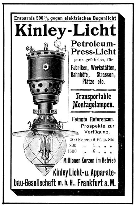 Werbeanzeige 1908 Kinley Licht
