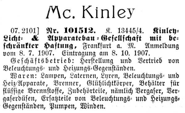 Warenzeichen Mc. Kinley