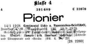 Warenzeichen Pionier